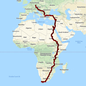 Map of our tour from Germany to South Africa